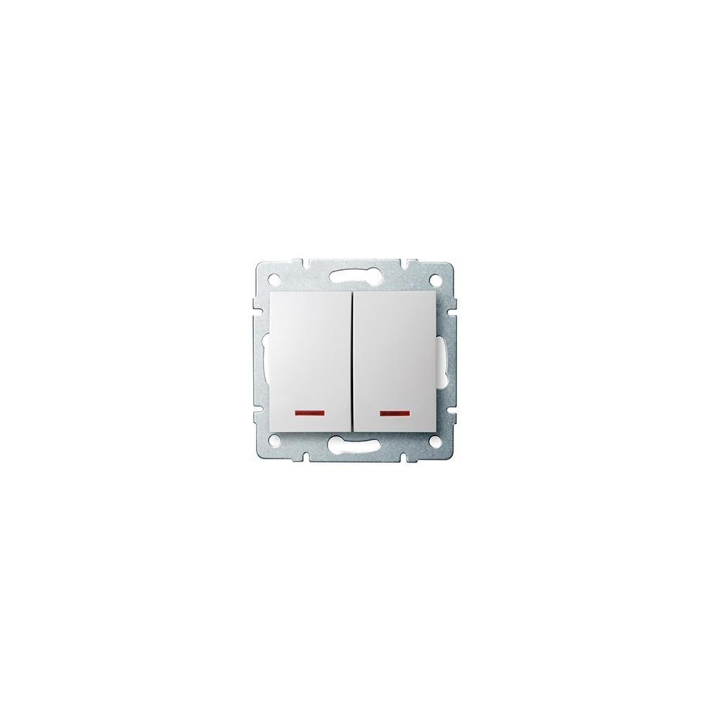 Kanlux LOGI Dvojité tlačítko s LED AX - V~biely eulux.sk