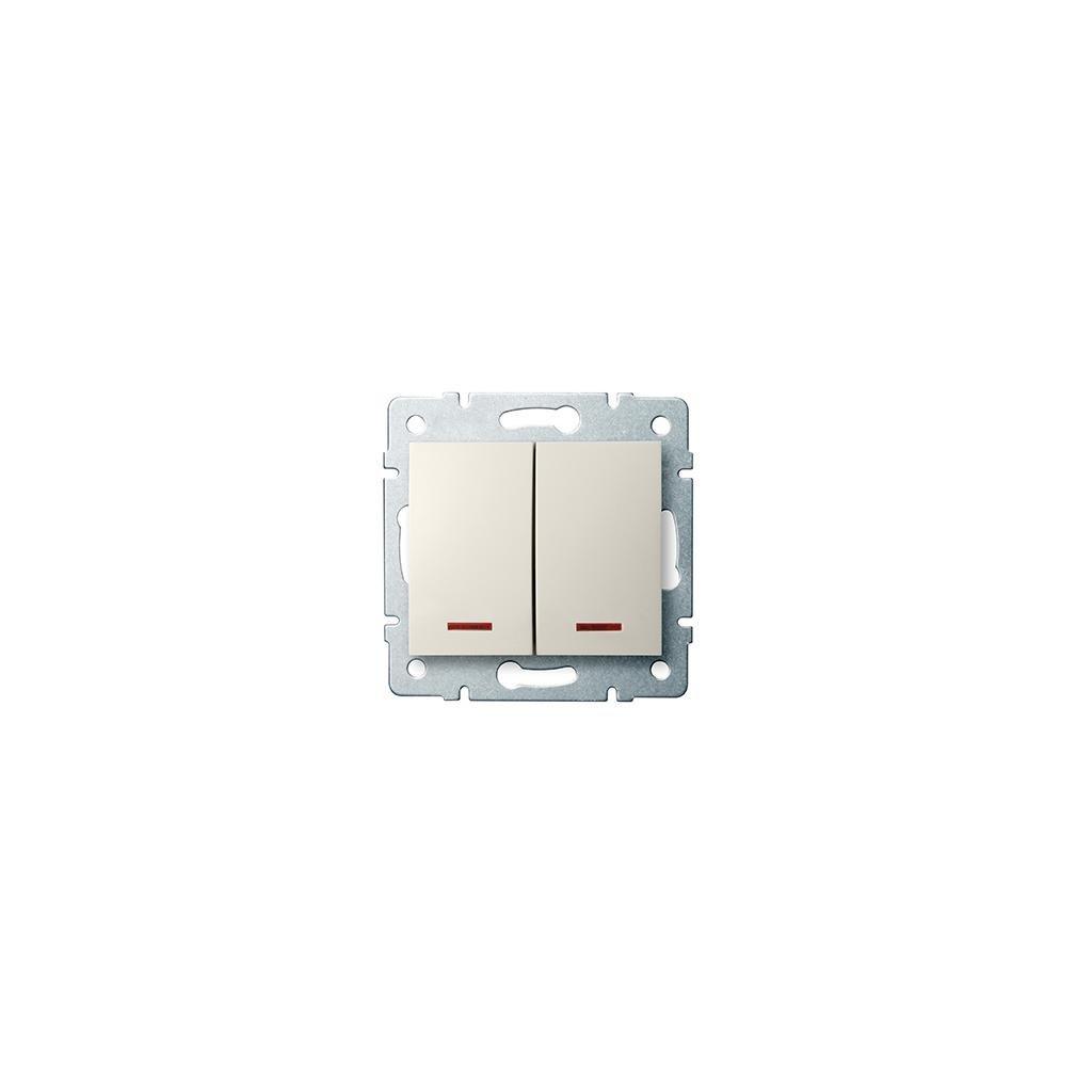 Kanlux LOGI Dvojité tlačítko s LED AX - V~krémový eulux.sk