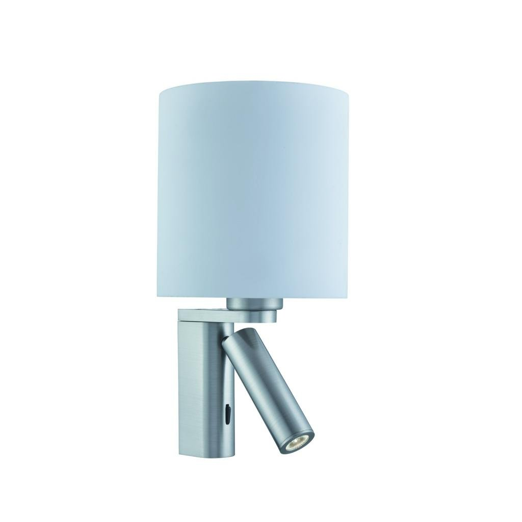 Searchlight SS LT WALL LIGHT & CYLINDER ARM LED READING LIGHT SATIN SILVER WHITE GLASS SHADE eulux.sk
