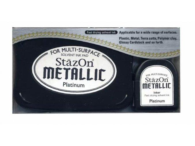 Tsukineko StazOn metallic ink pad Platinum