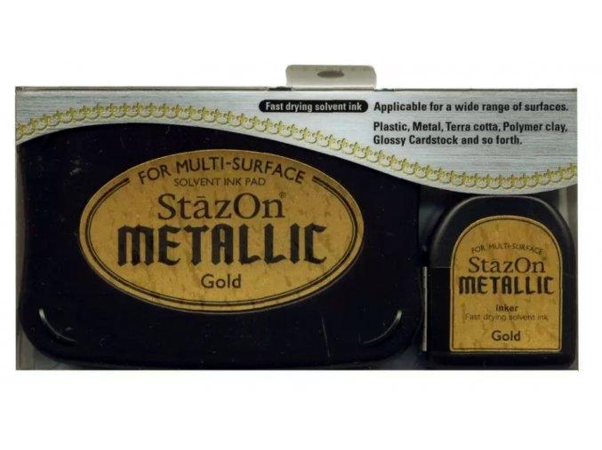 Tsukineko StazOn metallic ink pad Gold 01