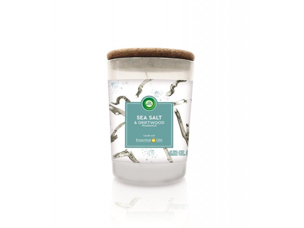 Air Wick Essential Oils Morská soľ & Naplavené drevo vonná sviečka 185g