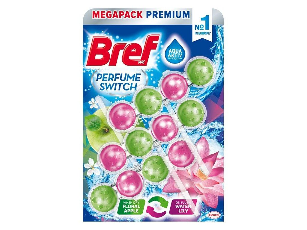 Bref Perfume Switch Green Apple & Water Lily WC Blok 3x50g