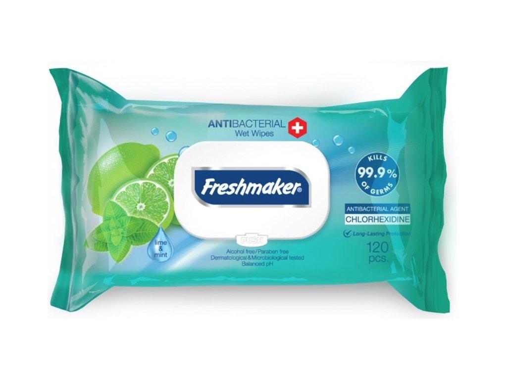 Freshmaker Lime vlhčené obrúsky s antibakteriálnym a hydratačným účinkom 120ks