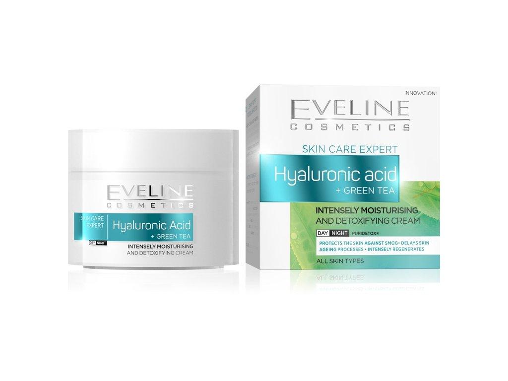 EVELINE SKIN CARE EXPERT intenzívne hydratačný a detoxikačný krém kys. hyaluronová a zelený čaj 50ml