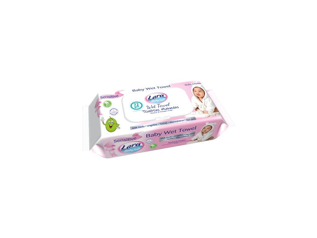 Lara Sensitive Pink vlhčené detské obrúsky 72 ks