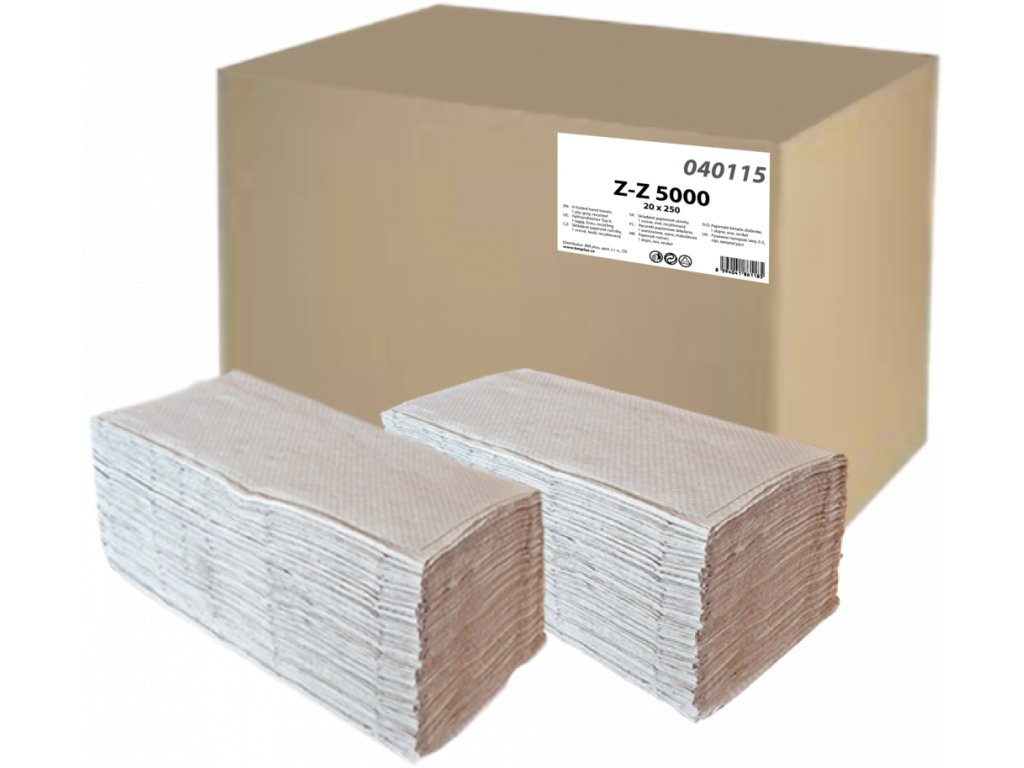 Papierové utierky ZZ šedé 250ks