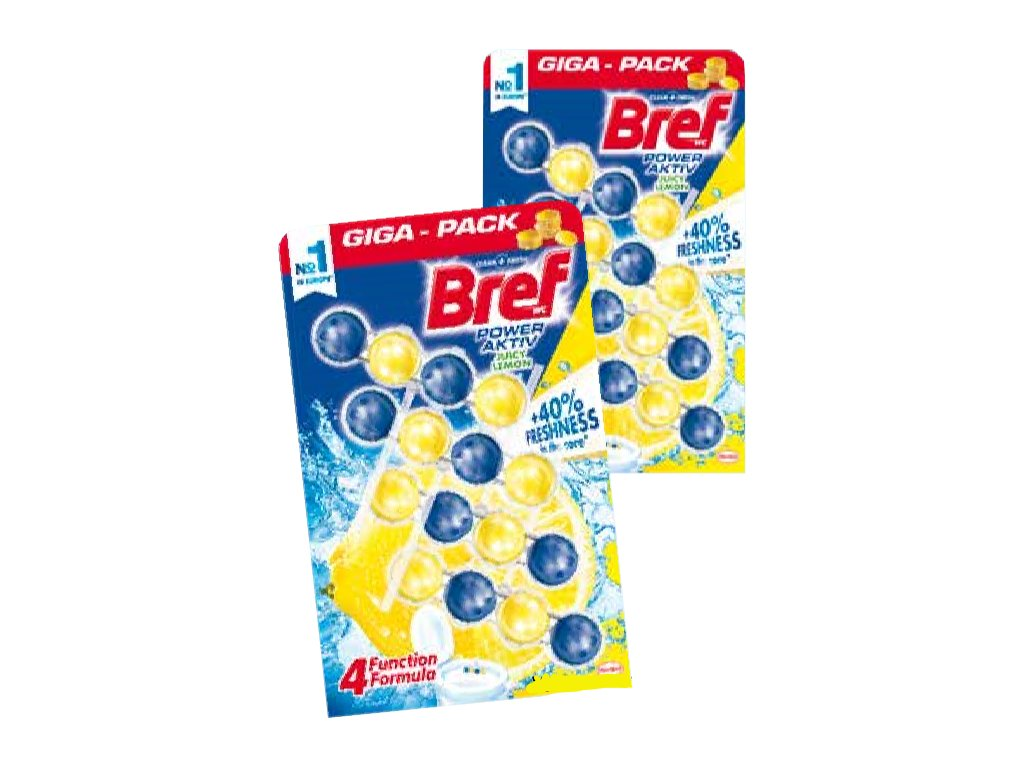 Bref Power Aktiv GIGA Pack Lemon WC Blok 4x50g