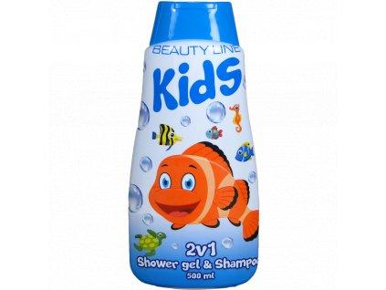 Beauty Line Happy Fish 2v1 sprchový gél + šampón na vlasy 500ml