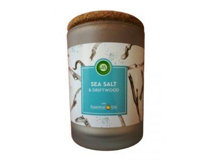 Air Wick Essential Oils - Morská soľ & Naplavené drevo vonná sviečka 185g