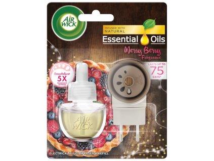 Air Wick Essential Oils Merry Berry elektrický osviežovač + náplň 19ml