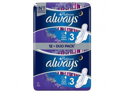 Always Platinum Ultra Night Hygienické Vložky 12 ks