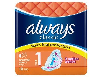 Hygienické vložky Always Classic Normal s krídelkami ponúkajú ochranu s pocitom čistoty s 3 funkčnými zónami, vďaka ktorým sa cítite bezpečne po celý deň.