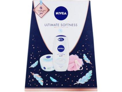 nivea ultimate softness zestaw pielegnacyjny zel pod prysznic krem do ciala myjka do ciala 5025970008035