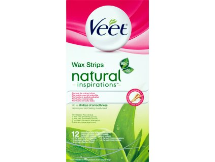 Veet Natural Inspirations voskové depilačné pásiky s Aloe vera 12ks + obrúsky 2ks