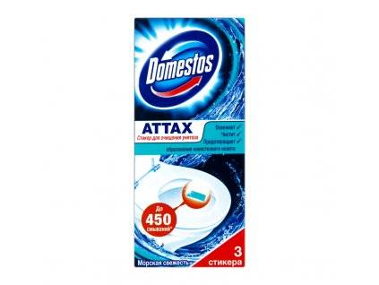 Domestos Attax Ocean gélová páska do WC misy 3x10 g