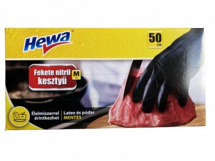 Hewa Nitrilové jednorázové rukavice čierne bez púdru M 50ks