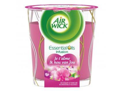 Air Wick Essential Oils Infusion DECOR I love You romantická kytica sviečka 105g