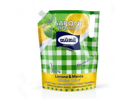 milmil liquid soap lemon mint 1000ml refill