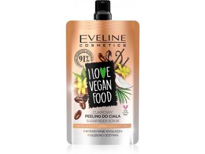 EVELINE I Love Vegan Food cukrový telový peeling Vanilla Latte 75 ml