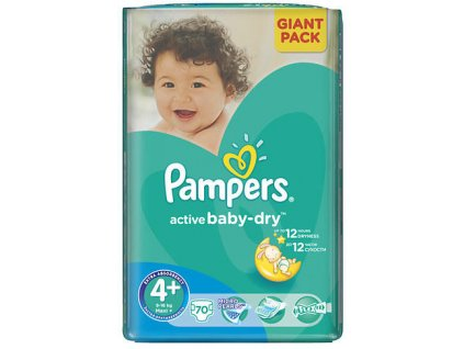 Pampers Active Baby Dry 4 Maxi+ 70ks (10 15kg)