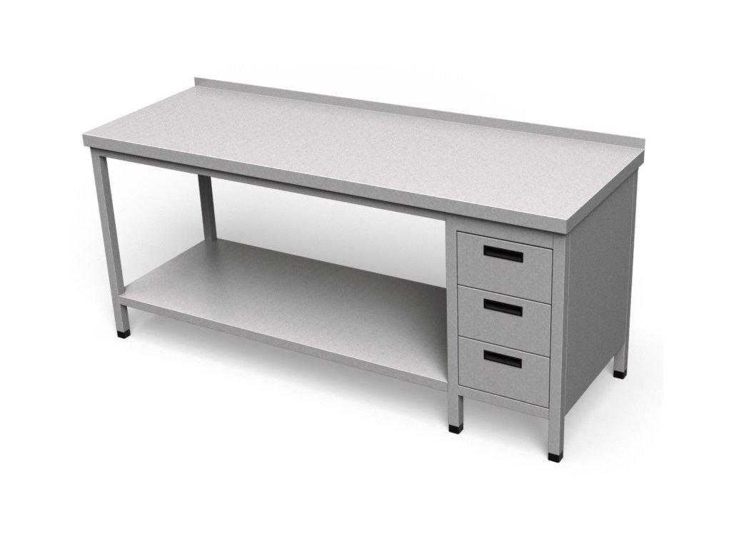 Pracovný stôl so zásuvkami a policou dlhý PS 26