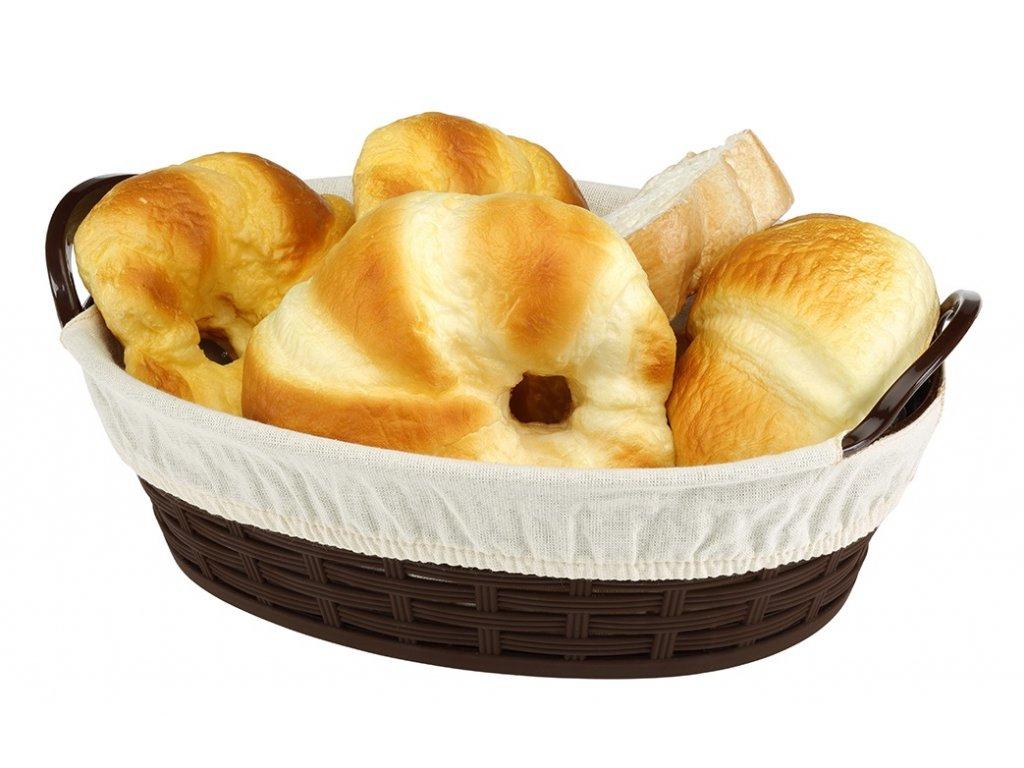 kosik na chlieb ovalny 24 cm s textiliou