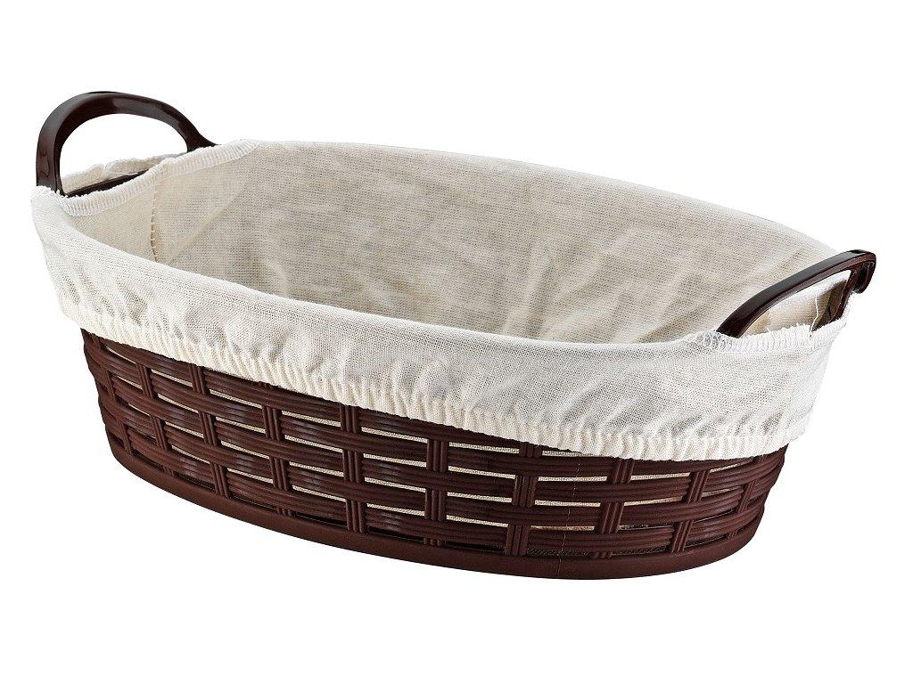 Košík na pečivo s textíliou 20x28x9 cm