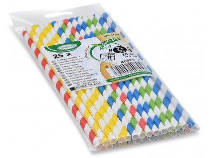 Slamky papierové farebný mix špirála 20 cm, Ø 6 mm [25 ks]