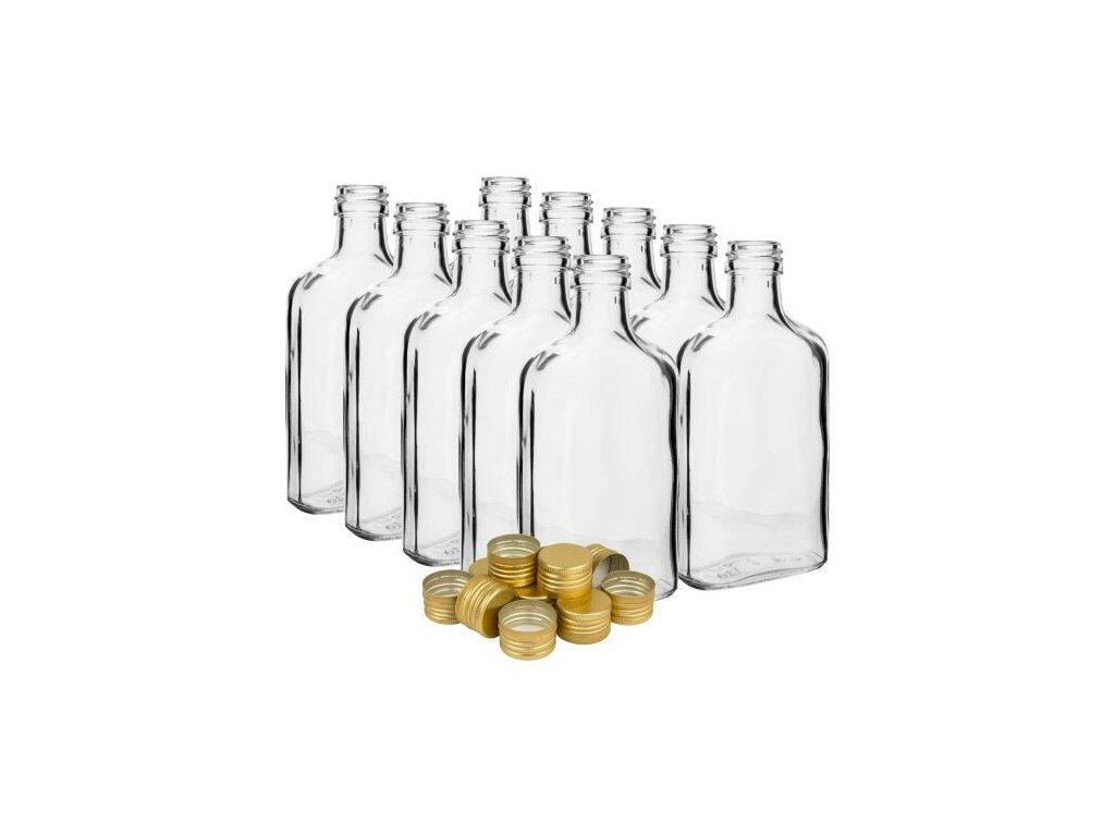 láhev placatka 200ml skleněná s uzávěrem (10ks)