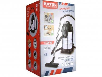 EXTOL PREMIUM 8895800 vysavač dílenský, multifunkční se zásuvkou a funkcí čištění filtru, 30l, 6m kabel, 3m hadice, 1400W