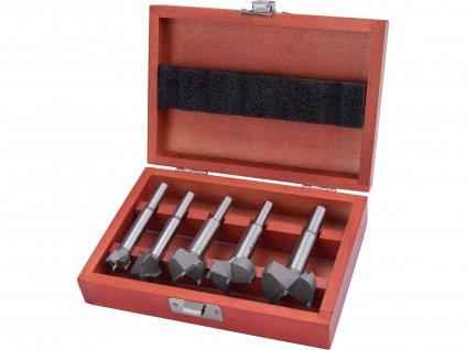 EXTOL PREMIUM 8802030 frézy-sukovníky do dřeva, sada 5ks s SK plátky, ∅15-20-25-30-35mm, stopka 8-10mm