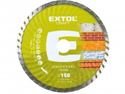 EXTOL CRAFT 108853 kotouč diamantový řezný, turbo - suché i mokré řezání, 150x22,2x2,8mm