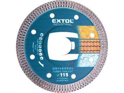 EXTOL INDUSTRIAL 8703041 kotouč diamantový řezný, turbo Thin Cut, suché i mokré řezání, 115x22,2x1,5mm