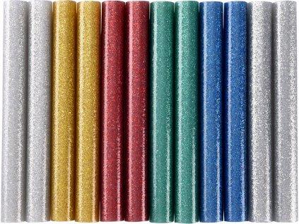 EXTOL CRAFT 9911 tyčinky tavné, mix barev se třpytem (glitter), pr.11x100mm, 12ks