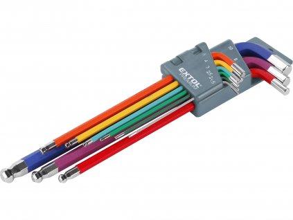 EXTOL PREMIUM 8819315 L-klíče IMBUS prodloužené barevné, sada 9ks, s kuličkou, 1,5-10mm