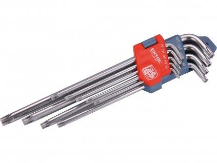 EXTOL PREMIUM 8819412 L-klíče TORX prodloužené, sada 9ks, T10-50mm