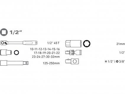 "EXTOL PREMIUM 8818365 hlavice nástrčné, sada 24ks, 1/2"""