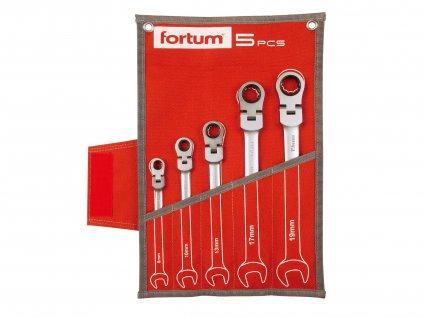 FORTUM 4720201 klíče ráčnové očkoploché s kloubem, sada 5ks, 8-19mm