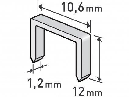 EXTOL PREMIUM 8852204 spony, balení 1000ks, 12mm, 10,6x0,52x1,2mm