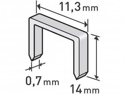 EXTOL PREMIUM 8852505 spony, balení 1000ks, 14mm, 11,3x0,52x0,70mm