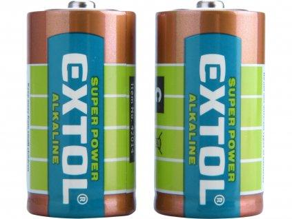 EXTOL ENERGY 42014 baterie alkalické, 2ks, 1,5V C (LR14)