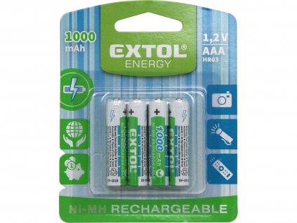 EXTOL ENERGY 42060 baterie nabíjecí, 4ks, AAA (HR03), 1,2V, 1000mAh, NiMh