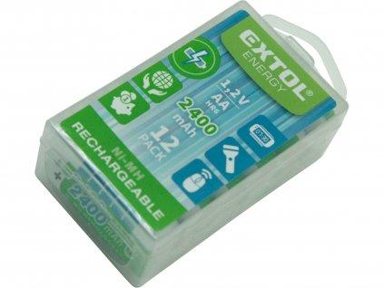EXTOL ENERGY 42063 baterie nabíjecí, 12ks, AA (HR6), 1,2V, 2400mAh, NiMh