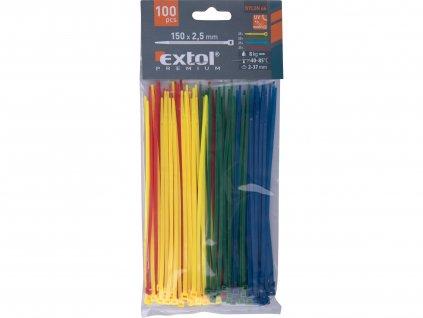 EXTOL PREMIUM 8856194 pásky stahovací barevné, 150x2,5mm, 100ks, (4x25ks), 4 barvy, nylon