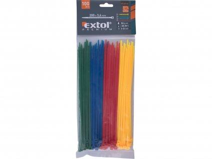 EXTOL PREMIUM 8856196 pásky stahovací barevné, 200x3,6mm, 100ks, (4x25ks), 4 barvy, nylon