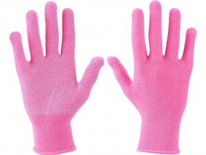 """EXTOL LADY 99719 rukavice z polyesteru s PVC terčíky na dlani, velikost 7"""""""