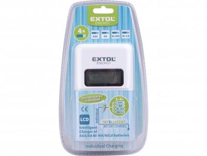 EXTOL ENERGY 42080 nabíječka AAA/AA, NiMh/NiCd, 4 sloty, individuální nabíjení, LCD