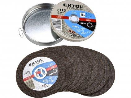 EXTOL PREMIUM 8808101 kotouč řezný na ocel/nerez, 10ks, 115x1,0x22,2mm