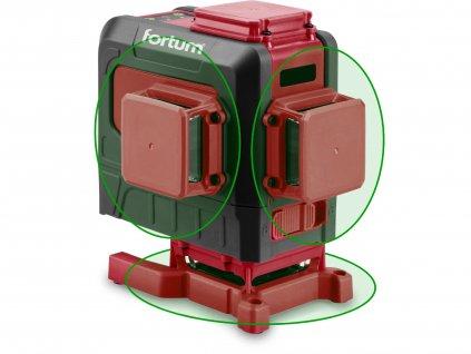 FORTUM 4780216 laser zelený 3D liniový, křížový samonivelační
